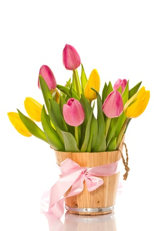 text free space: Beautiful bouquet of tulips on a white background Stock Photo