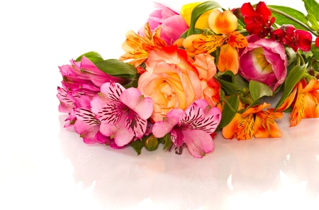 bouquet of lilies and roses on a white background photo