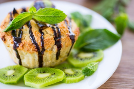 cheese muffins stuffed with kiwi fruit and mint Stock Photo - 19716828