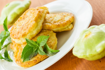 fritters: fried fritters of squash on the plate