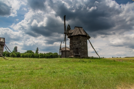 wooden windmill in rural Pyrohiv in Ukraine (Open Air Museum) photo