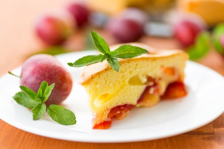 Home sweet cake with plums on a plate photo