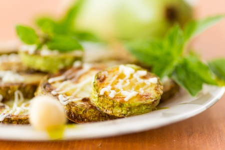 meatless: fried zucchini with mayo and garlic and basil Stock Photo