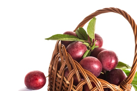 Fresh ripe plums in a basket on a white background