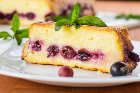 Cottage cheese pie with berries decorated with mint Stock Photo - 20870300