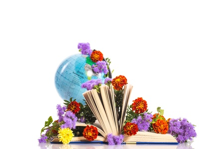 bouquet of flowers and a globe on the day the teacher photo
