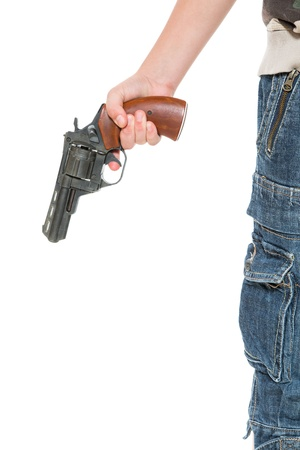 hand with a gun on a white background photo