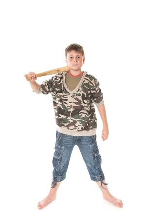 crazy man: boy with a bat on a white background Stock Photo