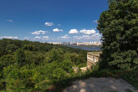 part of the city of Kiev, the view from above against the sky photo
