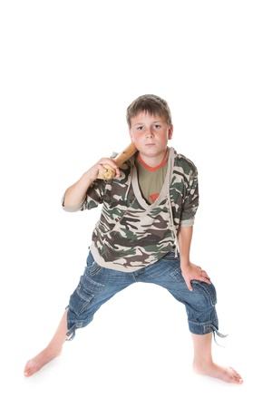 hoodlum: boy with a bat on a white background Stock Photo