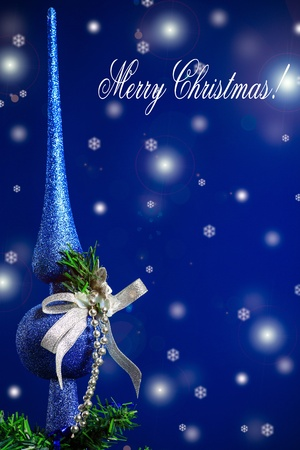 Christmas card with Christmas balls on a blue background photo