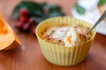 cheese muffins with pieces of pumpkin inside Stock Photo - 22800697