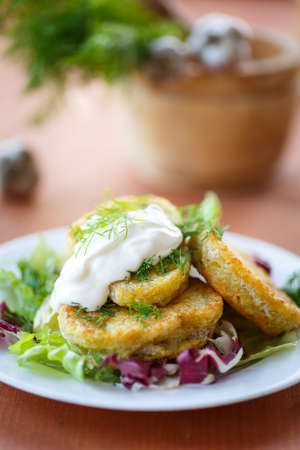 fried potato pancakes with lettuce leaves on a plate photo