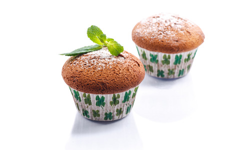 honey muffins with powdered sugar and mint photo