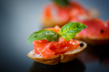 sandwich with salted salmon on a dark background photo