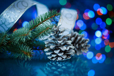 Christmas fir cones on a blue background photo