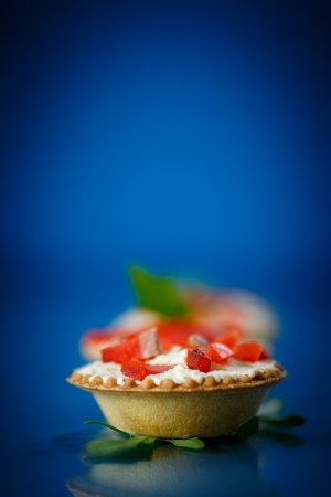 tartlets filled with red fish on a blue background photo