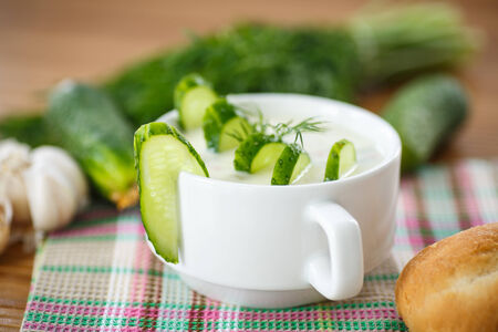 cold cucumber soup in the plate on wooden table photo