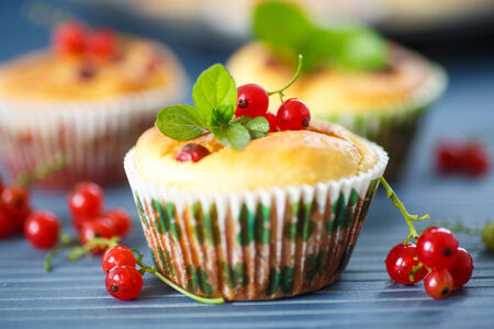cheese muffins with red currant and mint sprig photo
