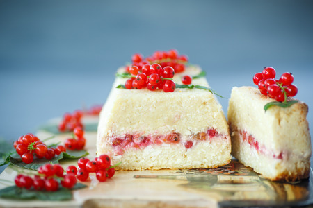Cottage cheese casserole stuffed with red currants photo