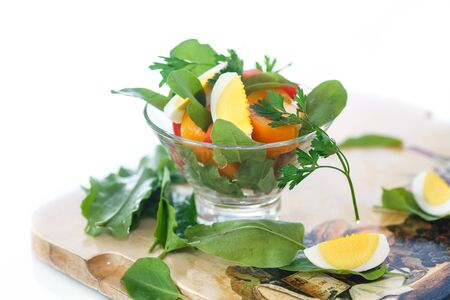 wood sorrel: sorrel salad with eggs and tomatoes and herbs