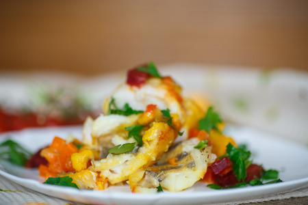 walleye: walleye fish stew with beets, carrots and vegetables Stock Photo