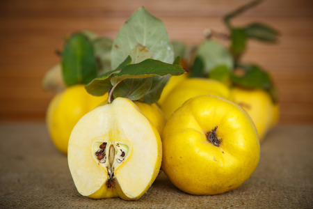 Natural ripe quince on a dark wooden background photo