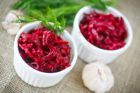 beet caviar with garlic and spices in a salad bowl photo