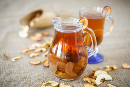 compote: compote of dried fruits in a glass cup on a table