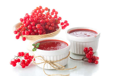 guelder: guelder rose jam with fresh sweet viburnum on a white background