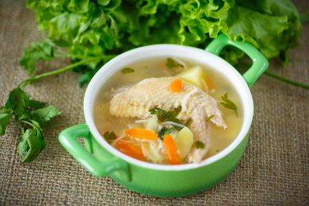 chicken soup: chicken soup with noodles in a bowl
