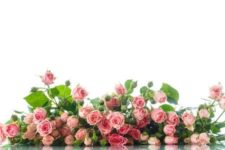 and bouquet: bellissimo mazzo di rose rosa su sfondo bianco Archivio Fotografico