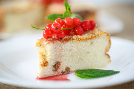 sweet curd pudding with berries on a plate photo