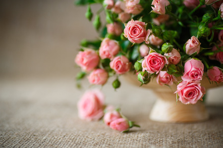 beautiful bouquet of pink roses on an old table of burlap 스톡 콘텐츠