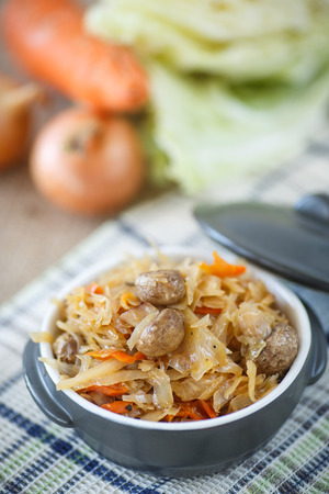 braised mushrooms: Braised cabbage with carrots and mushrooms in a bowl Stock Photo