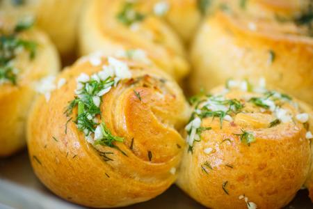garlic: garlic bread rolls with garlic, dill and herbs