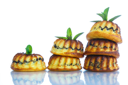 stuffing: muffin with cheese stuffing poppy on a white background Stock Photo