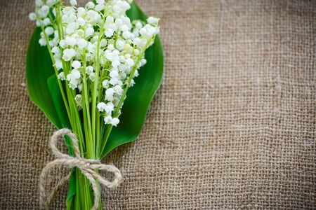 vintage card: bouquet of lily of the valley flowering in the table of burlap Stock Photo