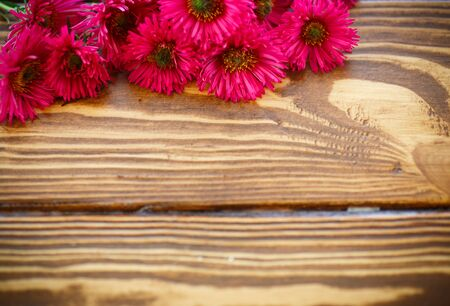 daisy flower: bouquet of red chrysanthemums on a wooden table