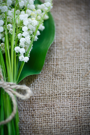 your text: bouquet of lily of the valley flowering in the table of burlap Stock Photo