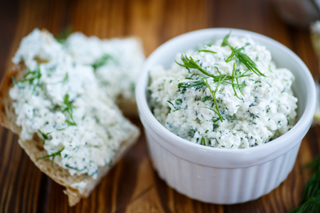 salty snack cheese with dill in a bowl