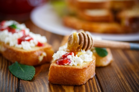 batter: sweet fried in batter toast with cream cheese and jam Stock Photo