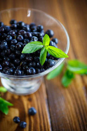 wildberry: sweet ripe blueberries in a glass on a wooden table Stock Photo