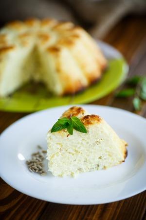 semillas de girasol: curd rice casserole stuffed sunflower seeds on a plate