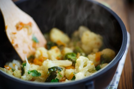 brussels sprouts: cauliflower with fried Brussels sprouts in a saucepan