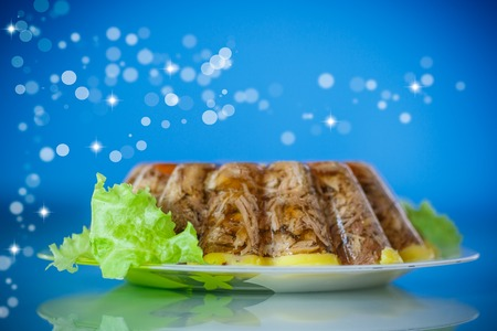 pastry cutters: jellied meat with vegetables on blue blurred background Stock Photo