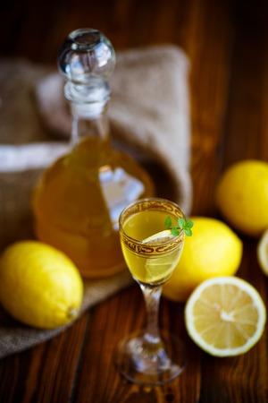 sweet lemon alcoholic brandy in the decanter