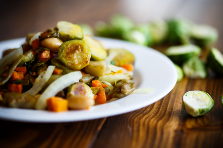 bean sprouts: Brussels sprouts roasted with vegetables and beans