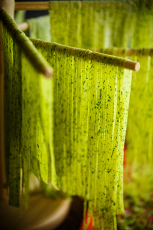 Homemade noodles green with greens on a wooden table Stock Photo