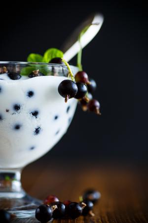stuffing: Sweet Greek yogurt with black currant berries